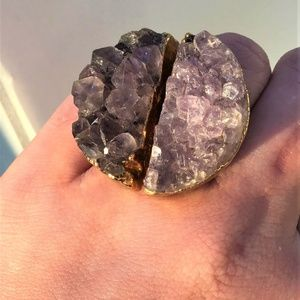 RAW AMETHYST GOLD FOIL RING